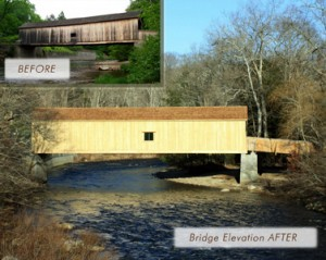 Engineering Excellece Award. Comstock Covered Bridge Rehabilitation; ProjectEast Hampton/Colchester, CT; McFarland Johnson, Inc.; Client: Connecticut Department of Transportation