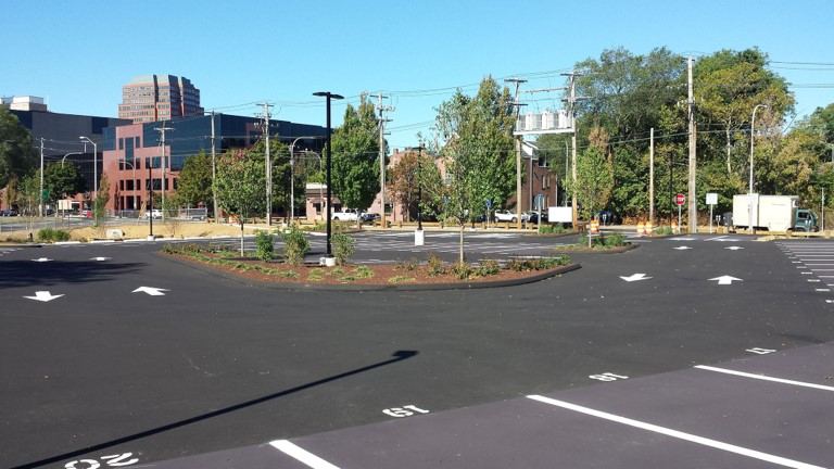 State/Trumbull CT Parking Lot, First Green Lot in Connecticut